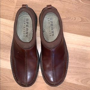 Sperry Top-sider slip on brown leather size 9